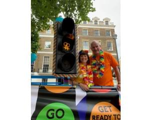 PRIDE 2019 - Male and female by LGBTQ adapted traffic light.