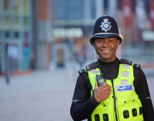 Black male officer on the beat.
