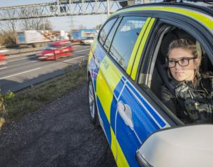 Female traffic officer on patrol.