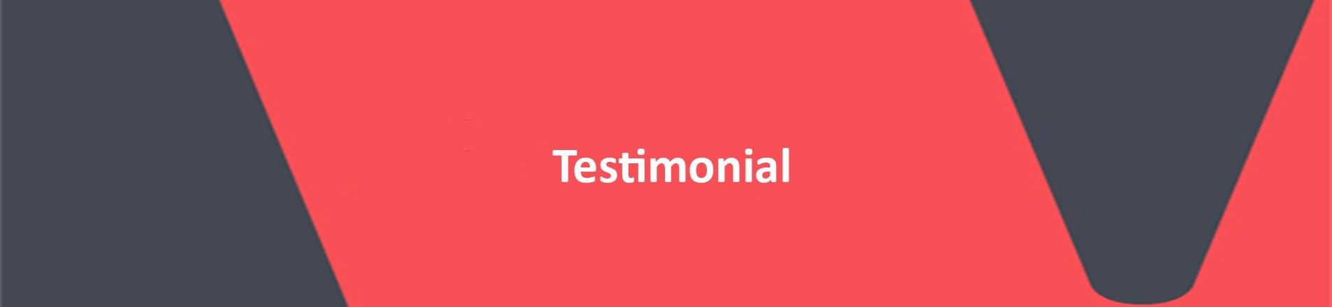 red banner with white text reading testimonial