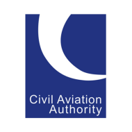 Civil Aviation Logo, blue background with white text and white arrow.
