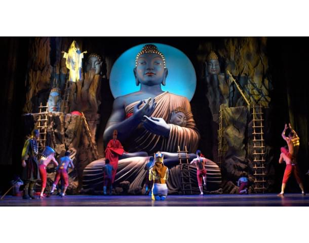 buddha on a stage