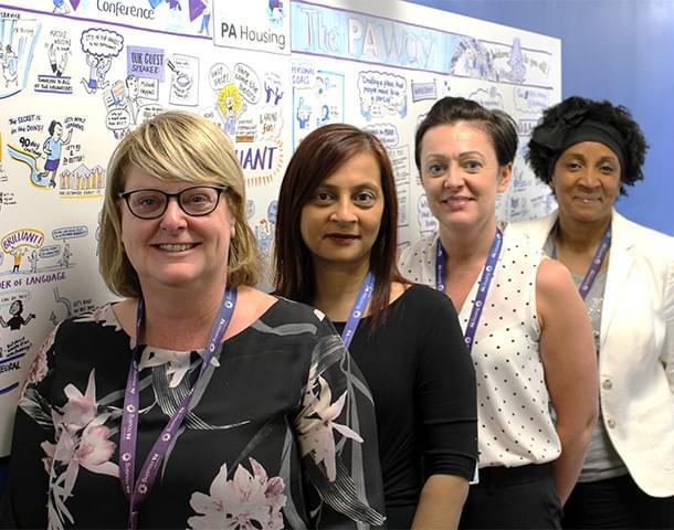 5 female customer service staff.