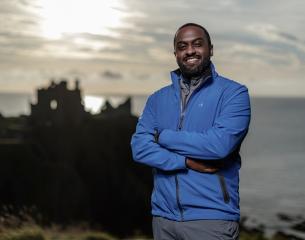 Black male  on Scottish Coast.