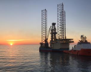 Interceptor drilling platform at sunrise.