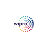 Wipro logo, rainbow dot effect in spiral circle.