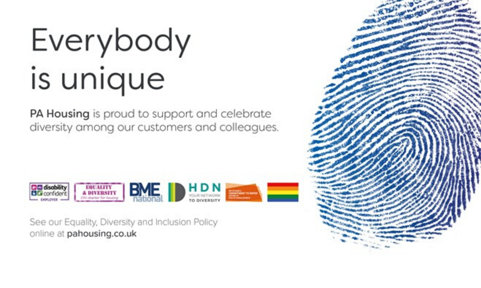 Everybody is unique, and we'e committed to promoting diversity, inclusion, and a culture that actively values difference. This commitment is promoted by our Board and applies to all customers, employees and other stakeholders, such as contractors, volunteers and partners. We believe that everyone is entitled to respect and dignity and we are committed to building an environment where our employees, customers, contractors and visitors are treated in this way.