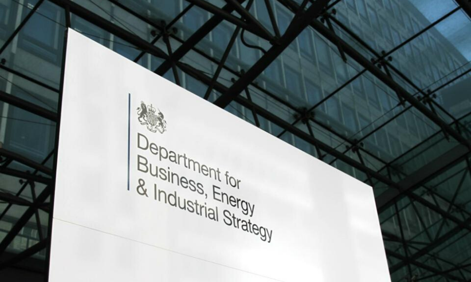 Department for Business, Energy and Industrial Strategy (BEIS) main sign, Victoria Street.