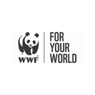 WWF black text under back and white panda. Text next to that 'For Your World'.