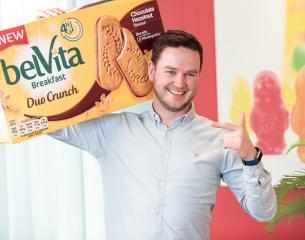 man hold bevita biscuits