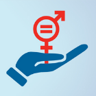 Symbol of hand a Female equality sign.