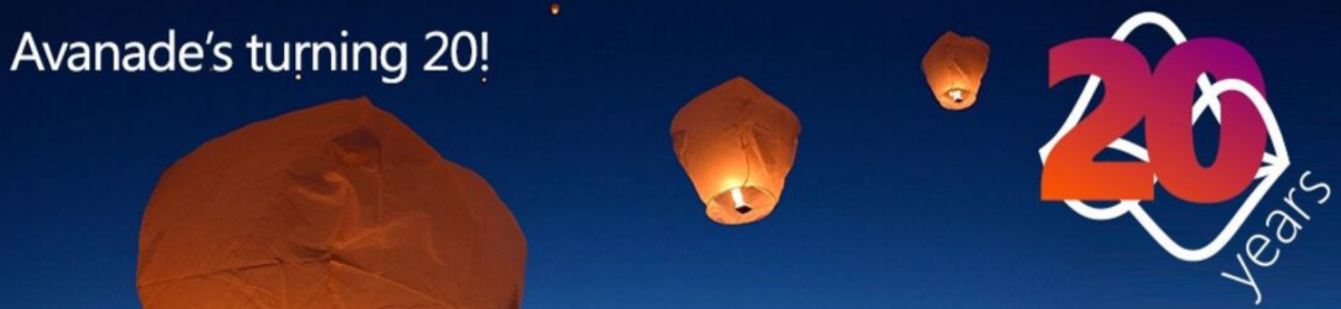 Avanade 20 year celebration header, fire lanterns in night sky.