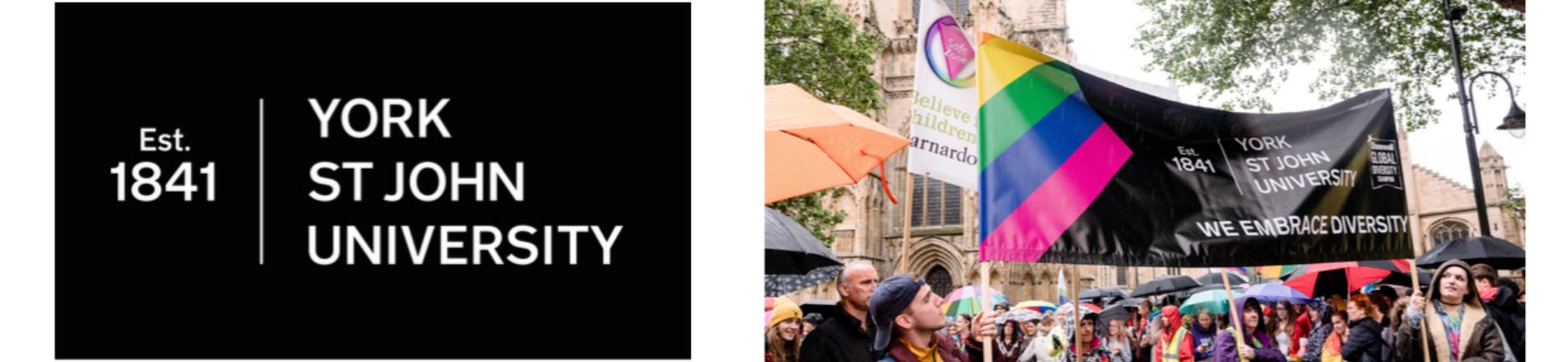 York St John Logo and banner at PRIDE 2019.