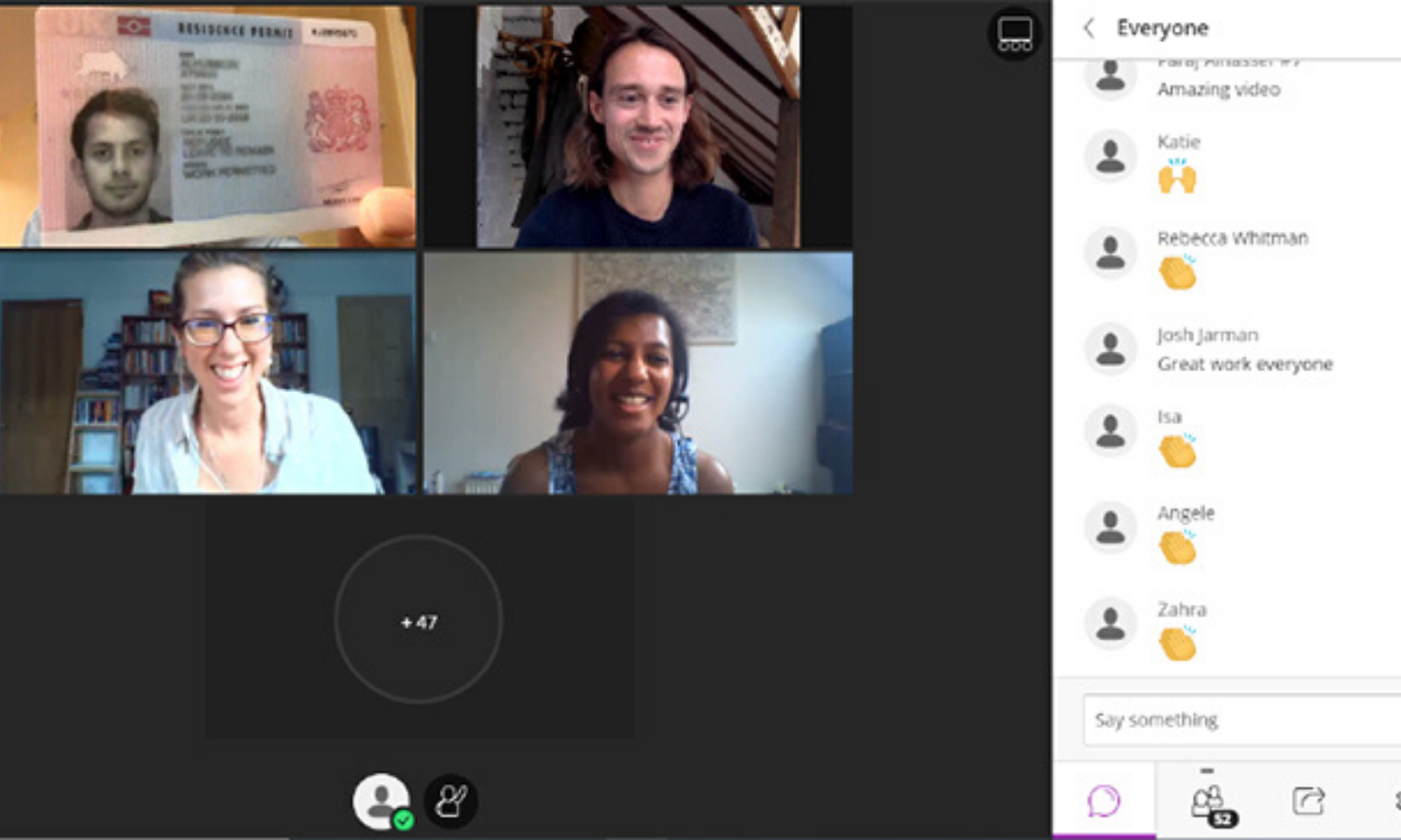 Members of  Cambridge Refugee Support Committee in a virtual meeting