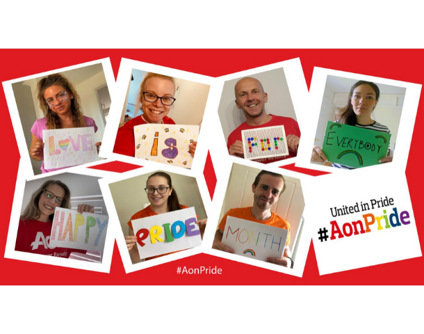 Aon staff celebrating Pride 2020 remotely