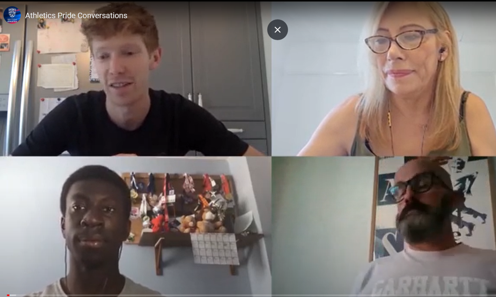 Four members of the Athletics Pride Network caught up via video call