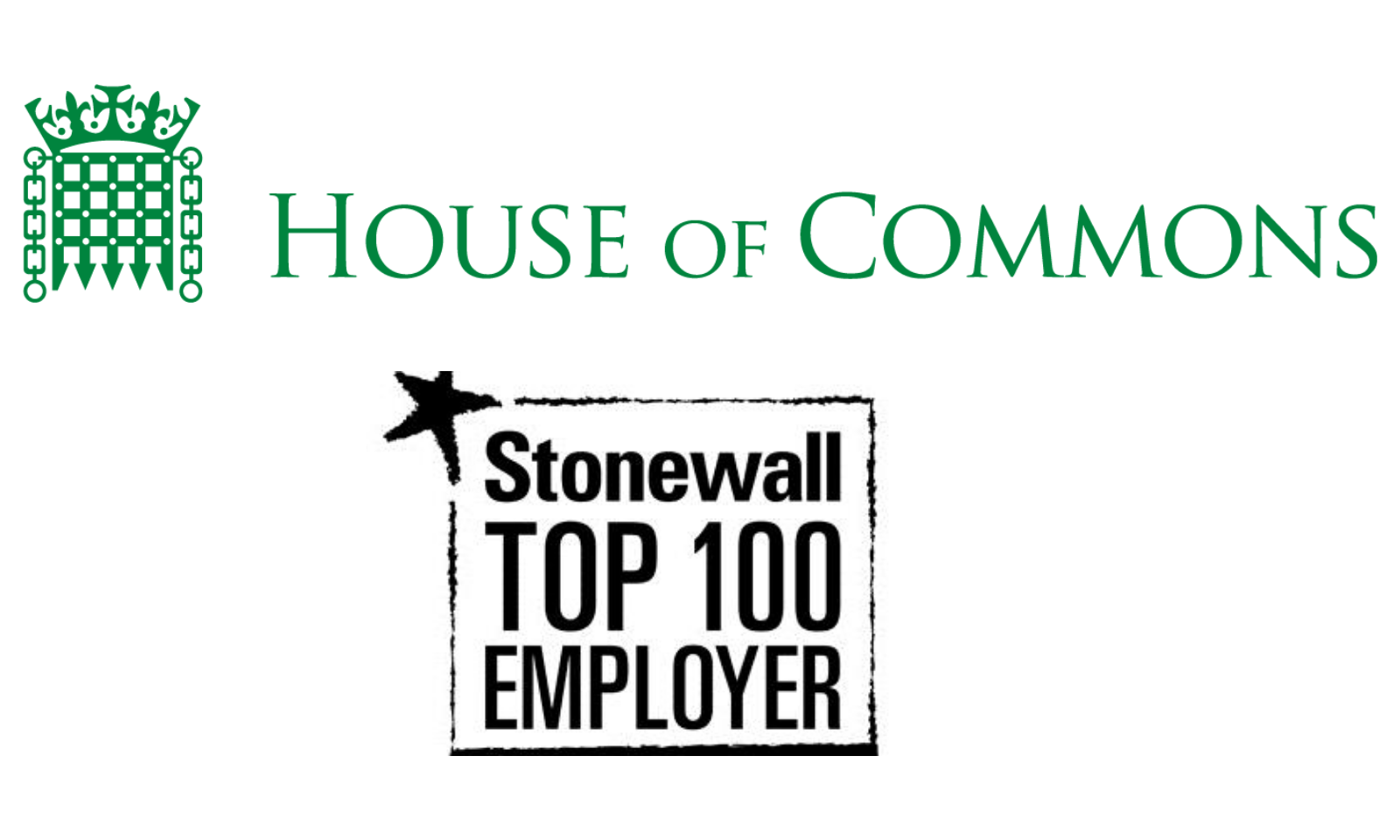 House of commons log and Stonewall Top 100 Employer logo
