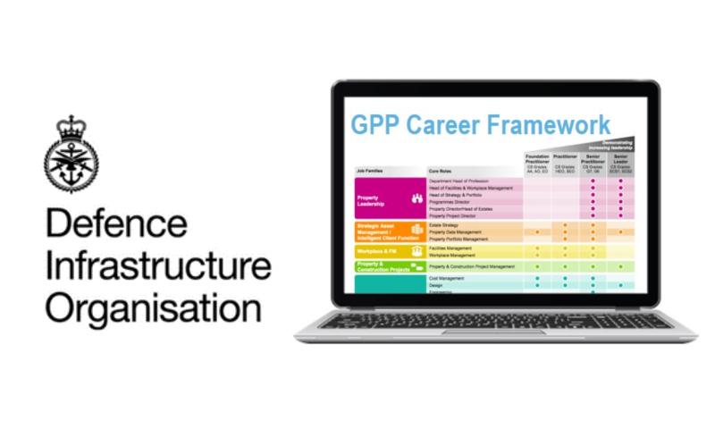 DIO logo next to laptop with GPP Framework on screen.