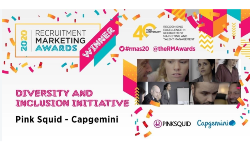 Capgemini UK have won both 'Best Diversity & Inclusion Initiative' and 'Best Video' at the #RMAs 2020 with Pink Squid.