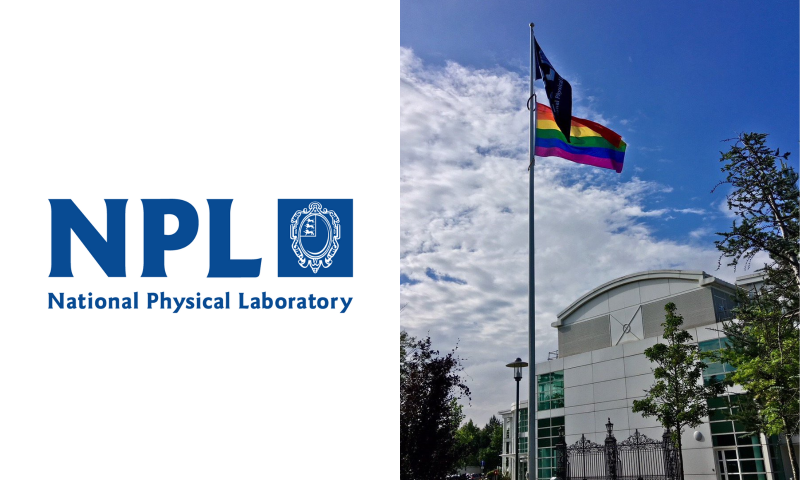 NPL building with rainbow flag outside