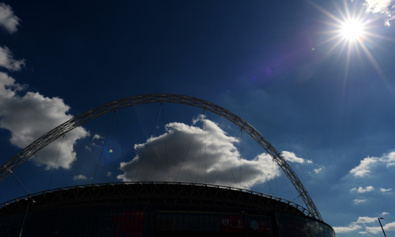 Wembley arches in sunshine and shadow