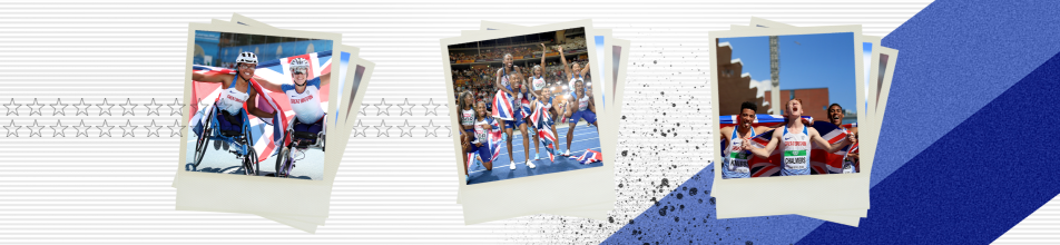 Image of Paralympic athletes in wheelchairs, image of men and women's track team celebrating together, image of track and field males celebrating with flag.