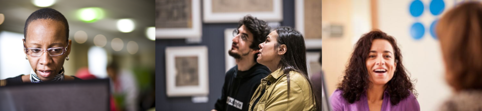1st image: Black female working on laptop 2nd image: Couple looking at art in gallery setting 3rd image: Female in our Portugal HQ