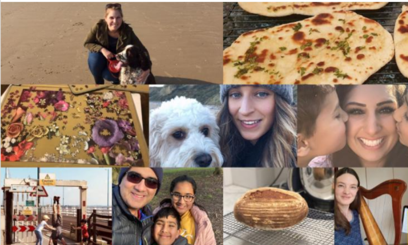 A montage of Aviva staff showing what they are doing on wellbeing leave