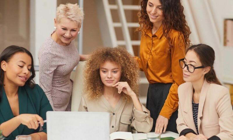 Women on a webinar