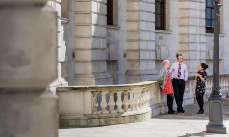 3 DCMS employees in the courtyard of 100 Whitehall