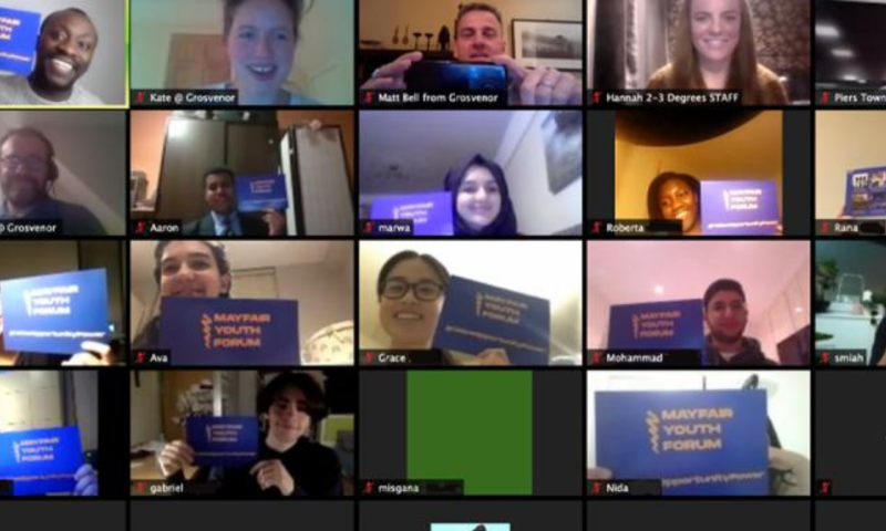 picture of zoom call with mixed of students