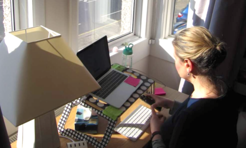 Female government employee working from home