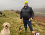 James Brierley walking his dogs