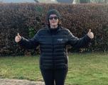 Joan Fennelly wearing Intapp 20th Anniversary Tumi Winter jacket
