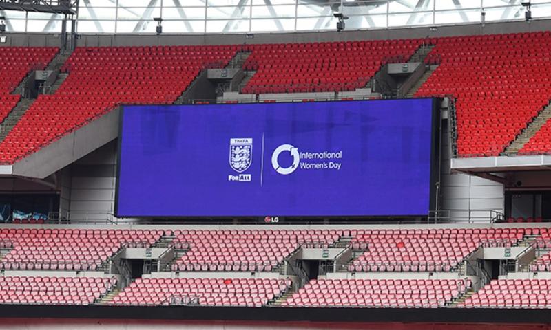 The digital scoreboard at Wembley announcing IWD 2021
