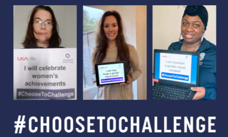 3 female UKA and BA staff holding their IWD2021 choose to challenge pledges