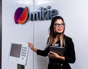 Female Mitie front of house team member