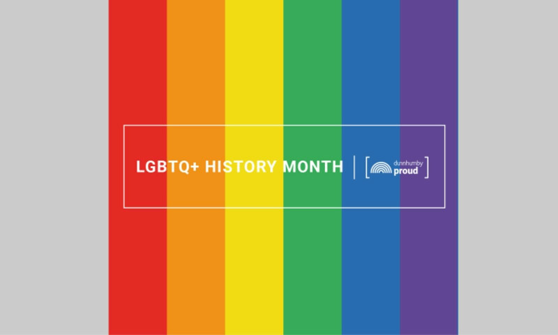LGBTQ History Month on a rainbow background