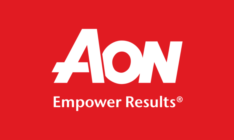 White text on red background - Aon