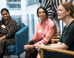 Three female employees on the return to work panel discussion