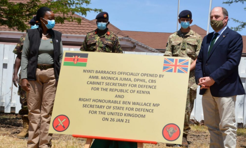 Secretary of State for Defence, Ben Wallace MP and Ambassador Dr Monica Juma, Cabinet Secretary for Defence for the Republic of Kenya, opening Nyati Barracks. [MOD Crown Copyright 2021]
