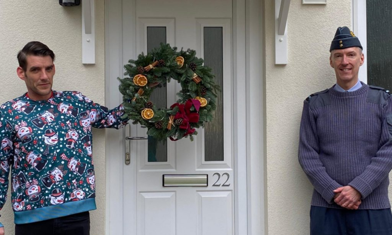 Cpl Stewart Angus and his family were the first to move in to a home refurbished under this programme. DIO's Head of Accommodation, Air Commodore James Savage, handed over a Christmas wreath to Cpl Angus and his family to mark their pre-Christmas move in.