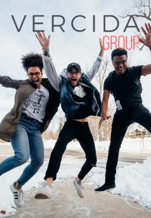 one african female, one caucasian male and one african male jumping with vercida logo on top