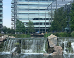 Chiswick Park, view of offices and water feature