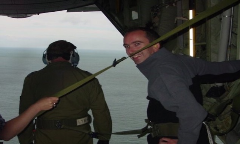 Warren onboard a Hercules C-130J, one of the benefits his had working as an apprentice in Defence.