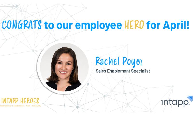 Intapp Employee Hero, Rachel Poyer