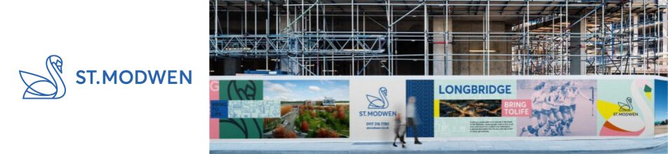 St. Modwen logo of swan, next to image of construction site