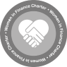 Image of the Women In Finance Charter Signatory logo. This shows the silhouettes of two hands shaking, to form the shape of a heart.