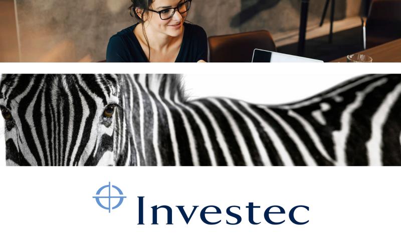 Women sitting at desk with laptop, Zebra, Investec logo