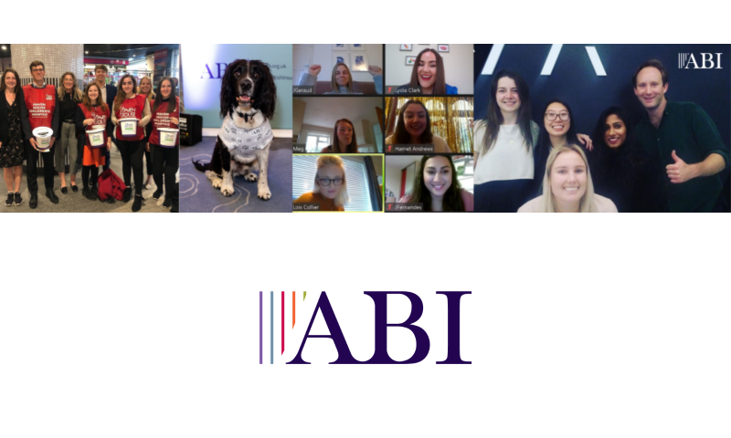 ABI employees collecting for charity, a dog in the ABI office! An ABI virtual meeting, and ABI staff in the office.